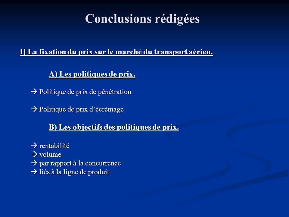 Conclusions rédigées I] La fixation du prix sur le marché du transport aérien. A) Les politiques de prix.